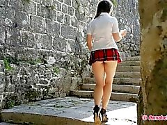 Schoolgirl Windy Upskirt, Masturbation and Smoking