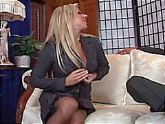 Busty naught blonde milf secretary strips off for some fuck cash