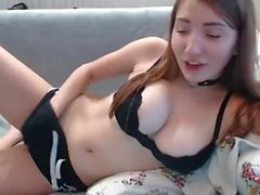 Perfect natural rack busting out webcam girl masturbating