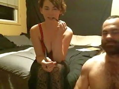 Cam girl in tights gives blow job