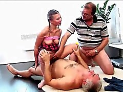 Two old men fuck young slut