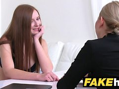 Female Agent Hot redhead makes blonde sexy cum