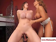 Sara Jay and Ava Devine ride a big cock flawlessly