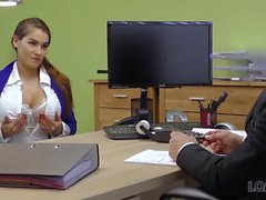 LOAN4K. Happy loan manager fucks mouth and cunt of buxom girl