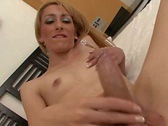 Exquise blonde shemale with a perfect cock