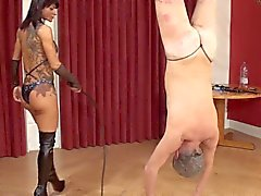 Dometria cruel upside down bullwhip punishment