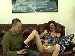 Tgirl spunks in mouth