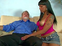Porsha Carrera sucks old man s white Cock