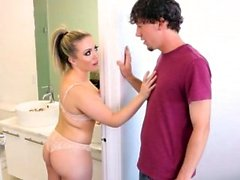 Chubby frustrated MILF stepmother seduced her stepson