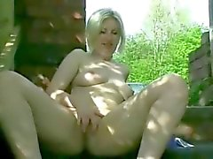 Horny Fat Chubby GF showing her Pussy and Ass Outdoors
