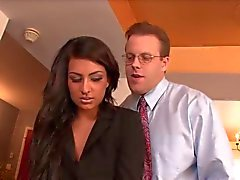 Sexy brunette chick gets a hard fuck in the office
