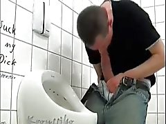 Hung Thick Cock Wanking in Public Toilet