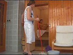 Chick enters the sauna and they fuck