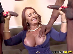 Janet Mason Gets Fucked By Two insatiable ebony fellows