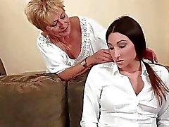 Granny and teen in hot lesbian action