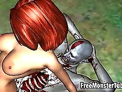 Yummy 3D redhead babe gets fucked hard by a zombie