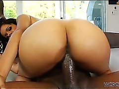 Cute black babe fucks a massive cock