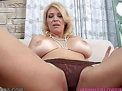 Mommy With Huge Natural Tits Sucks Cock POV