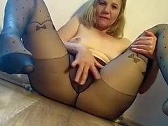 Cam girl in black tights