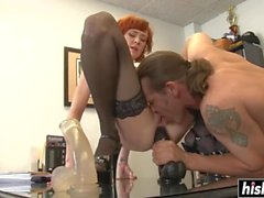 Redhead MILF in stockings likes it hard