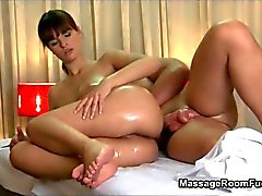 Awesome brunette gives a sensual massage with a fuck