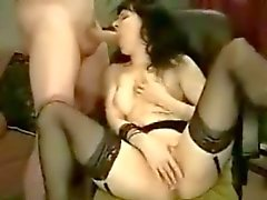 Mina masturbates while blowing cock