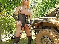 Kinky Shemale Outdoor Masturbation