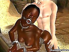 Tied up 3D ebony honey gets fucked by an old man