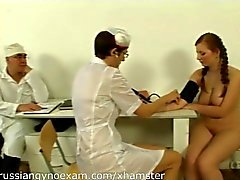 a plumpy busty Russian babe on a gyno exam gets humiliated