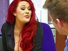 Redhead secretary is slammed by big-dick