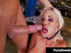 Horny Grease Monkey Fucks & Abuses Blonde Babe Puma Swede!
