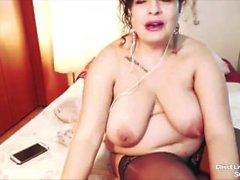 Sultry hairy cougar Lola with big boobs