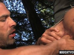 Tattoo gay outdoor sex and cumshot