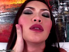 Erotic Asian tranny with shiny dick head strokes cock in POV