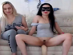 Lesbian Couple Taking Some huge dildo