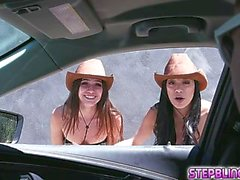 stepsisters gianna and savannah let the stud stroke inside them