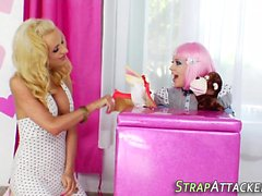 Shemale gagging on toy