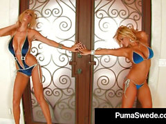 big-boobed platinum-blonde bombshell Puma Swede Finger Bangs With Miss Stylez