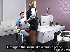 Female agent watches guy while masturbating and cumming