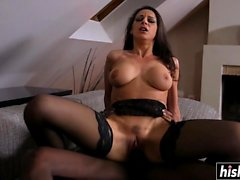 Black cock penetrates her tight ass