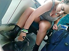 Sexy Girl clean her legs in the train