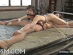 Tied up tits with toy pleasuring