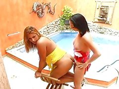 Carla Novaes and her TS girlfriend fuck by pool