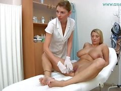huge breasts blonde medical check-up at gyno clinic
