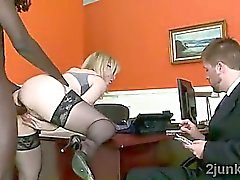 Stunning mature secretary gets smashed by her sons black boss
