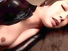 Smoking hot jap babe in latex hammered in her sexy slit