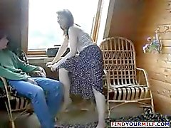 Brunette Russian mom seduces son's friend and he fucks her