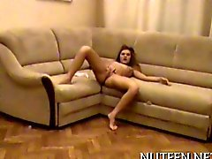 Amazingly hot teen couple banging on a couch