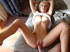 Beautiful bubble-butt blonde Destiny is woken up for rough-sex