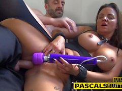 Kinky bdsm babe throating